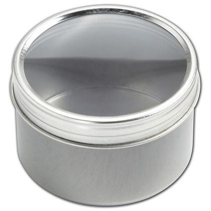 Silver Twist Top Tin Boxes with Window, 2 1/2 x 1 1/2""