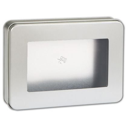 Silver Tin with Window, 6 7/8 x 5 x 1 5/8""
