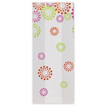 Blooming Dots Cello Bags, 4 x 2 1/2 x 9 1/2