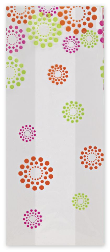 Blooming Dots Cello Bags, 4 x 2 1/2 x 9 1/2""