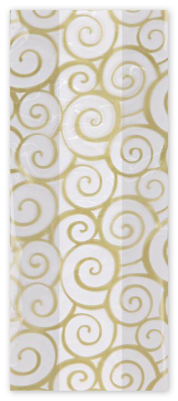 Euro Swirl Gold Cello Bags, 4 x 2 1/2 x 9 1/2