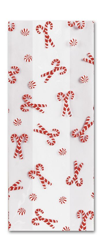 Christmas Mint Cello Bags, 4 x 2 1/2 x 9 1/2