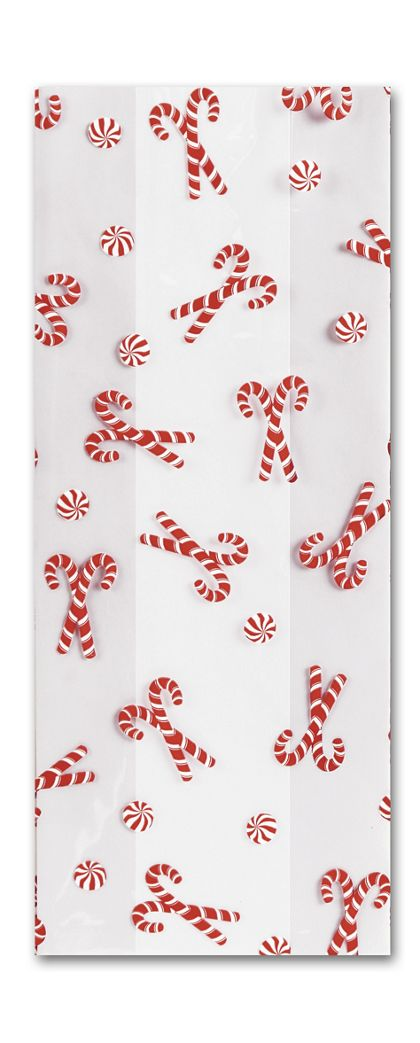 Christmas Mint Cello Bags, 4 x 2 1/2 x 9 1/2""