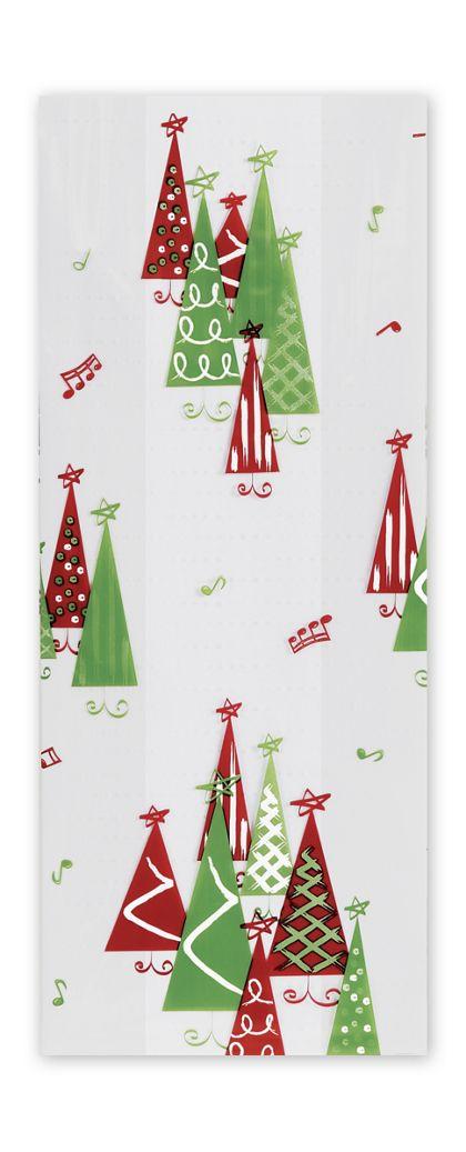 """Rockin' Christmas Tree Cello Bags, 4 x 2 1/2 x 9 1/2"""""""
