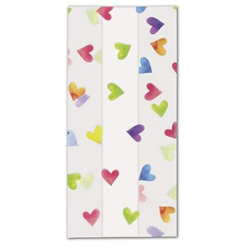 Rainbow Hearts Cello Bags, 4 x 2 1/2 x 9 1/2""