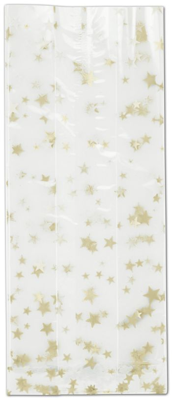 Gold Stars Cello Bags, 4 x 2 1/2 x 9 1/2