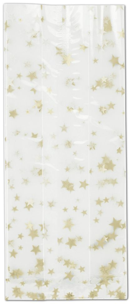 Gold Stars Cello Bags, 4 x 2 1/2 x 9 1/2""