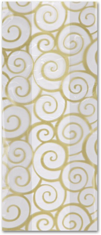 Euro Swirl Gold Cello Bags, 5 x 3 x 11 1/2