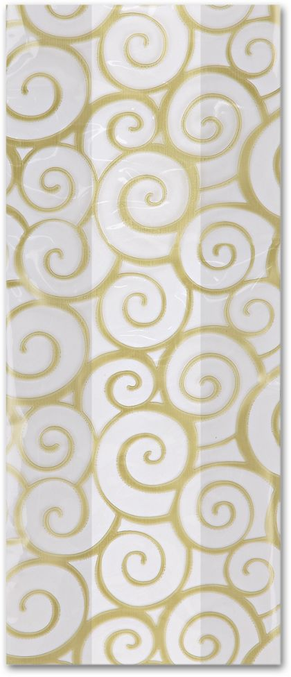 Euro Swirl Gold Cello Bags, 5 x 3 x 11 1/2""