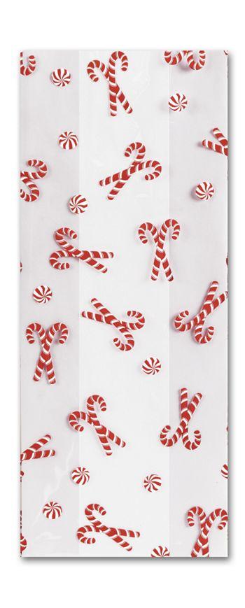 Christmas Mint Cello Bags, 5 x 3 x 11 1/2