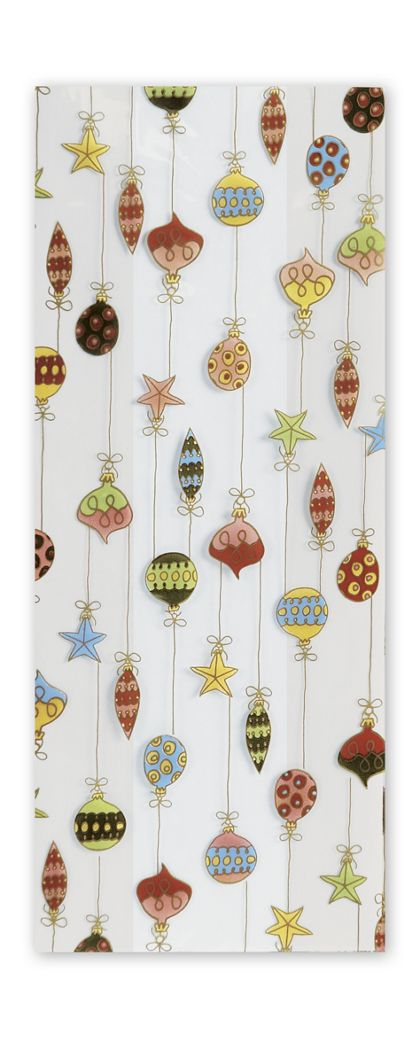"Merry Ornaments Cello Bags, 5 x 3 x 11 1/2"""