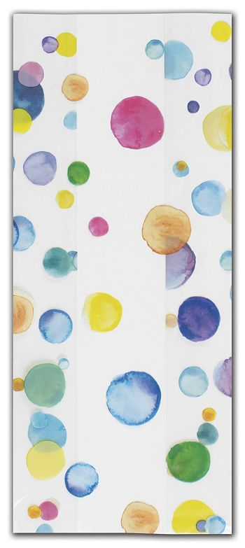 Watercolor Confetti Cello Bags, 5 x 3 x 11 1/2