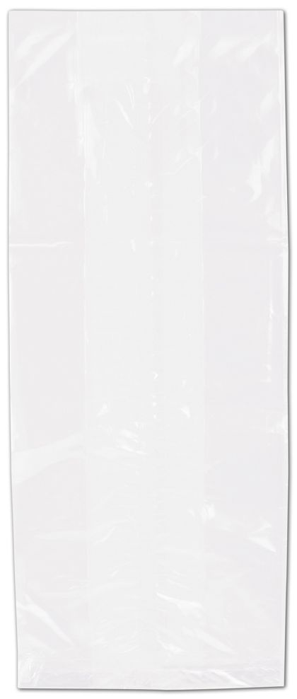 "Clear Polypropylene Bags Gusseted,  5 1/2 x 13 1/2 + 3"" SG"