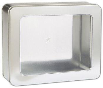 Silver Tin with Window, 10 x 8 1/4 x 3 1/4