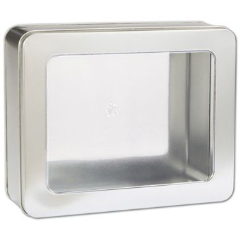 Silver Tin with Window, 10 x 8 1/4 x 3 1/4