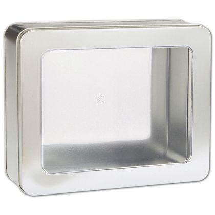 """Silver Tin with Window, 10 x 8 1/4 x 3 1/4"""""""