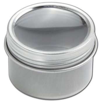 Silver Twist Top Tin Boxes with Window, 1 1/2 x 1