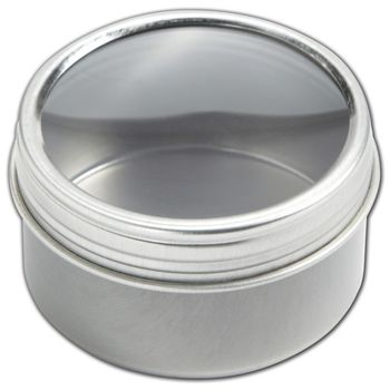 Silver Twist Top Tin Boxes with Window, 1 7/8 x 1