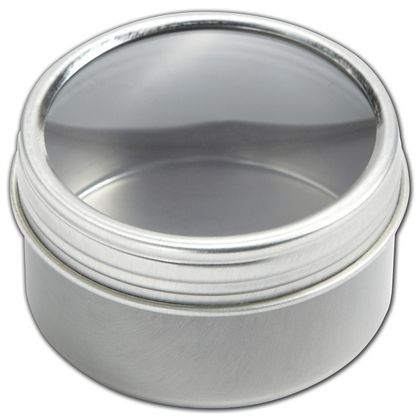 Silver Twist Top Tin Boxes with Window, 1 7/8 x 1""