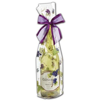 Grapes Wine Cello Bags, 4 x 2 1/2 x 17