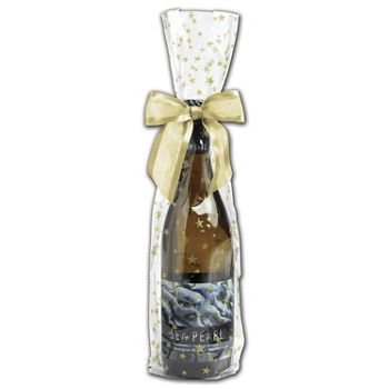 Gold Stars Wine Cello Bags, 4 x 2 1/2 x 17""