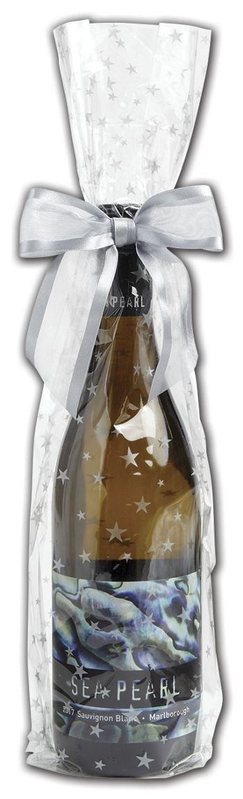Silver Stars Wine Cello Bags, 4 x 2 1/2 x 17