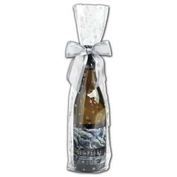 Silver Stars Wine Cello Bags, 4 x 2 1/2 x 17