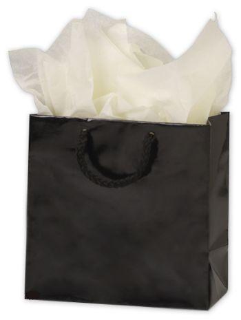 Premium Black Gloss Euro-Shoppers, 6 1/2 x 3 1/2 x 6 1/2