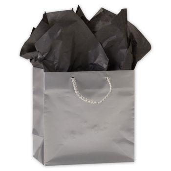 Premium Silver Gloss Euro-Shoppers, 6 1/2 x 3 1/2 x 6 1/2
