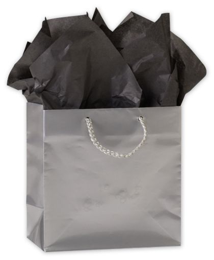 """Premium Silver Gloss Euro-Shoppers, 6 1/2 x 3 1/2 x 6 1/2"""""""