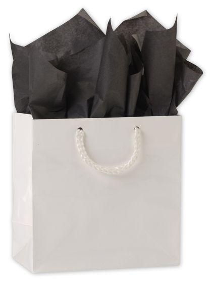 "Premium White Gloss Euro-Shoppers, 6 1/2 x 3 1/2 x 6 1/2"""