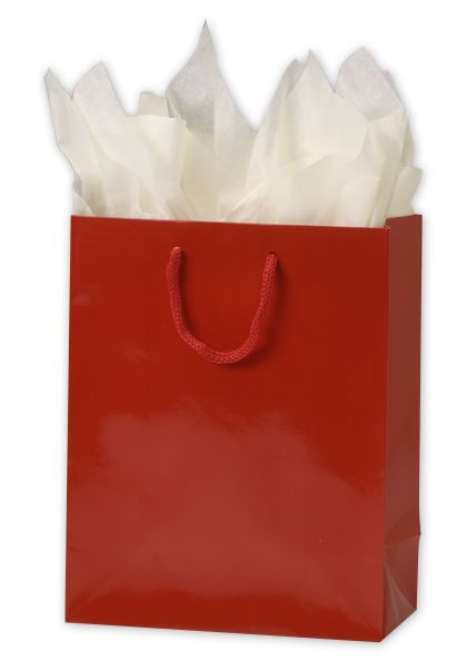 "Premium Red Gloss Euro-Shoppers, 8 x 4 x 10"""