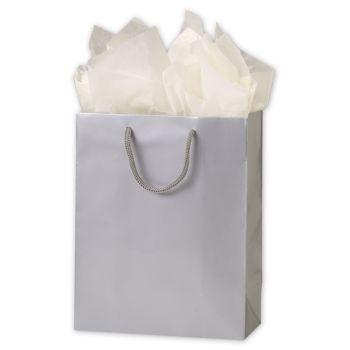 Premium Silver Gloss Euro-Shoppers, 8 x 4 x 10