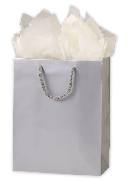"""Premium Silver Gloss Euro-Shoppers, 8 x 4 x 10"""""""
