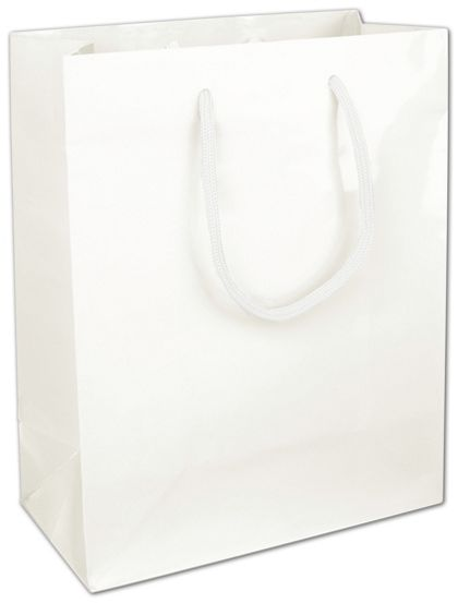Premium White Gloss Euro-Shoppers, 8 x 4 x 10""