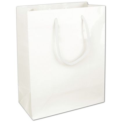 Premium White Gloss Euro-Shoppers, 8 x 4 x 10