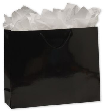 Premium Black Gloss Euro-Shoppers, 16 x 4 3/4 x 13