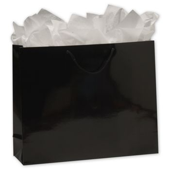 Premium Black Gloss Euro-Shoppers, 16 x 4 3/4 x 13""