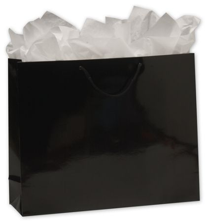 "Premium Black Gloss Euro-Shoppers, 16 x 4 3/4 x 13"""
