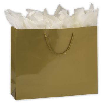 Premium Gold Gloss Euro-Shoppers, 16 x 4 3/4 x 13