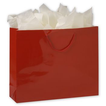 Premium Red Gloss Euro-Shoppers, 16 x 4 3/4 x 13