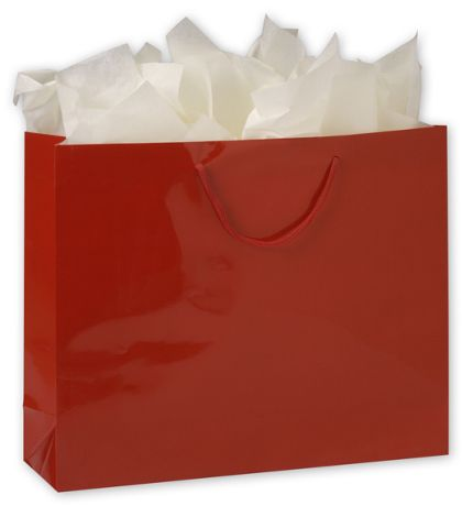 "Premium Red Gloss Euro-Shoppers, 16 x 4 3/4 x 13"""
