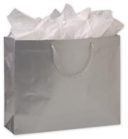 """Premium Silver Gloss Euro-Shoppers, 16 x 4 3/4 x 13"""""""