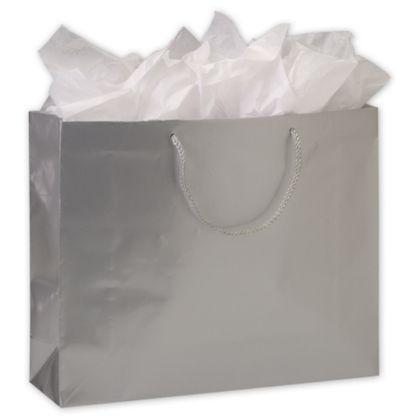 Premium Silver Gloss Euro-Shoppers, 16 x 4 3/4 x 13
