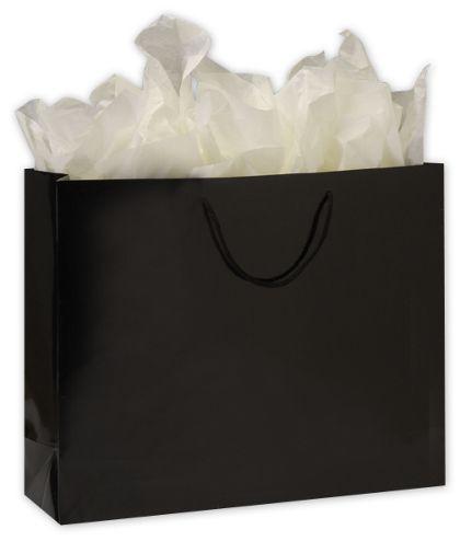 "Premium Black Gloss Euro-Shoppers, 20 x 6 x 16"""