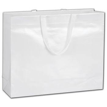 """White Pearl Luster Euro-Totes, 16 x 4 3/4 x 13"""""""