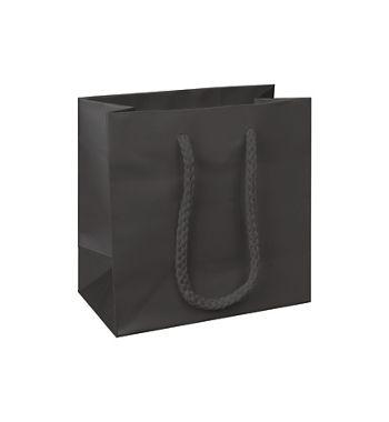 Premium Black Matte Euro-Shoppers, 6 1/2 x 3 1/2 x 6 1/2