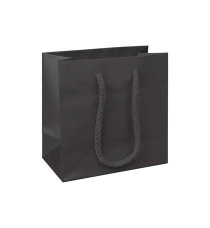 "Premium Black Matte Euro-Shoppers, 6 1/2 x 3 1/2 x 6 1/2"""