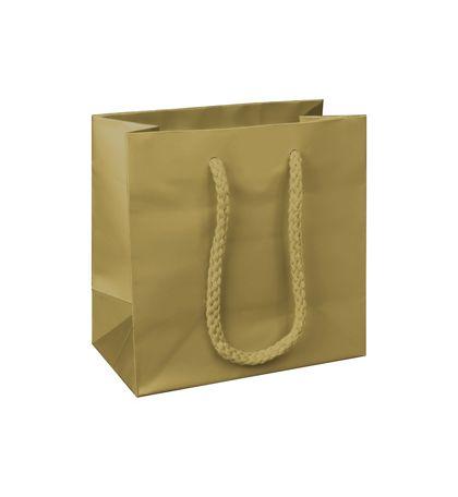 "Premium Gold Matte Euro-Shoppers, 6 1/2 x 3 1/2 x 6 1/2"""