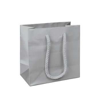 Premium Silver Matte Euro-Shoppers, 6 1/2 x 3 1/2 x 6 1/2